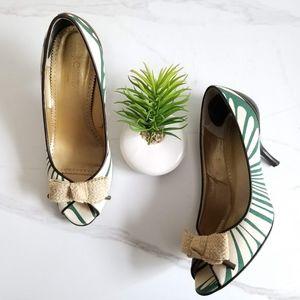 J. CREW Collection Tan Beige Liza Peep Toe Pumps